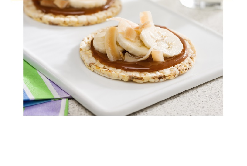 Banana, caramel & coconut on CORN THINS as a delicious snack