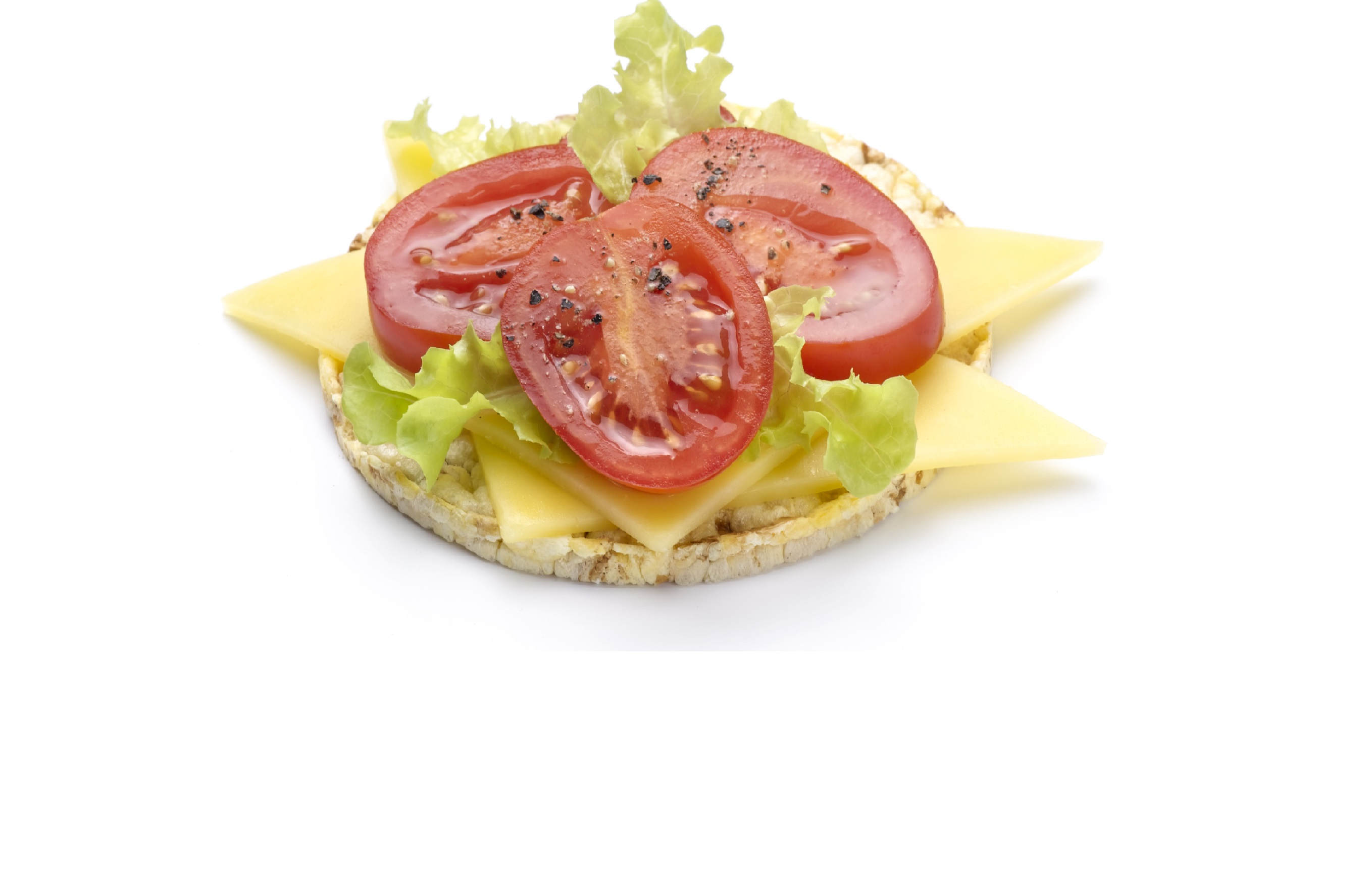 Quick snack option of tomato, cheese & lettuce on Corn Thins slices