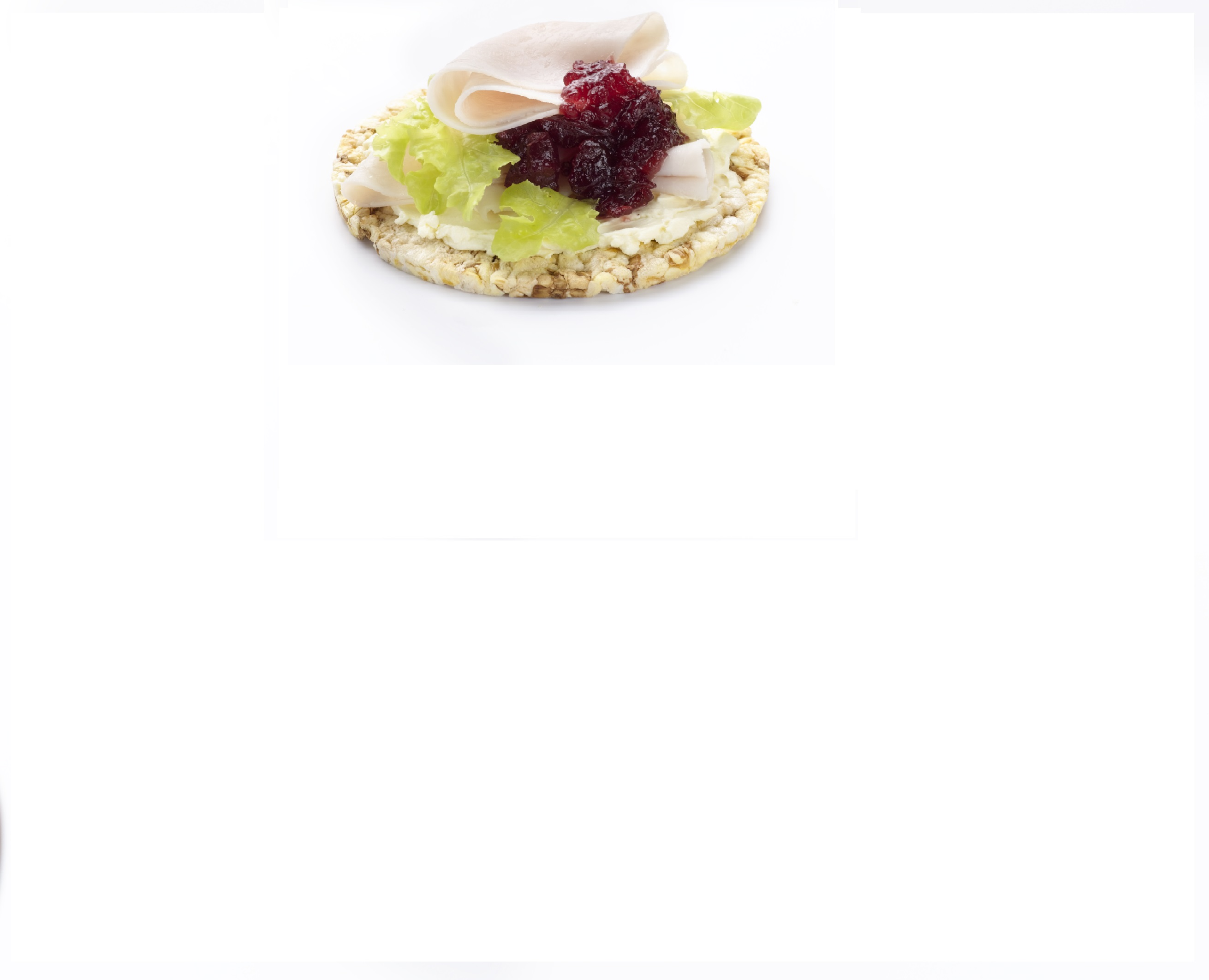Quick lunch of creamed cheese, turkey & cranberry on Corn Thins slices