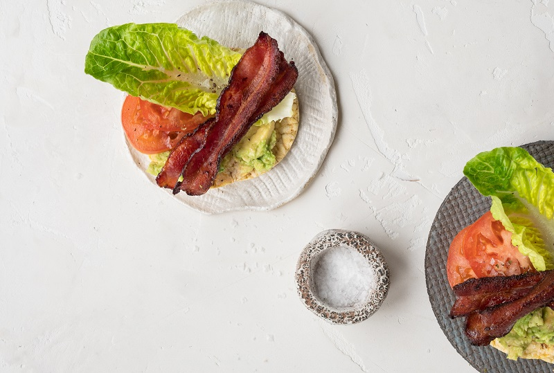 Bacon, Lettuce, Avocado & Lettuce on CORN THINS™ slices for breakfast