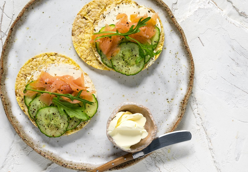 Cream Cheese, Smoked Salmon, Cucumber & Rocket on CORN THINS slices