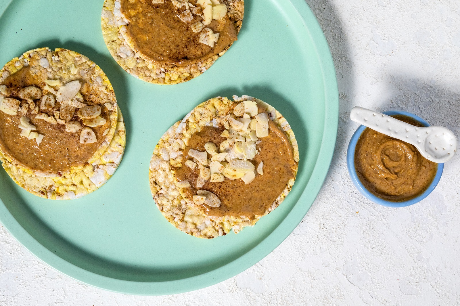 Sweet treat of CORN THINS slices with Almond butter & cinnamon sugar