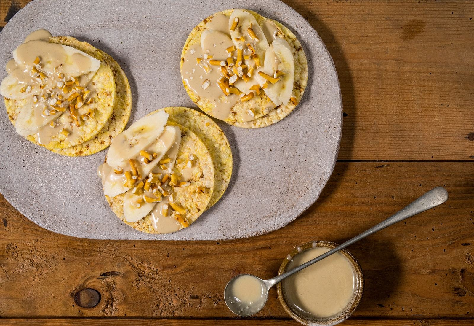 Sweet & Salty - banana, tahini & prezels on CORN THINS slices