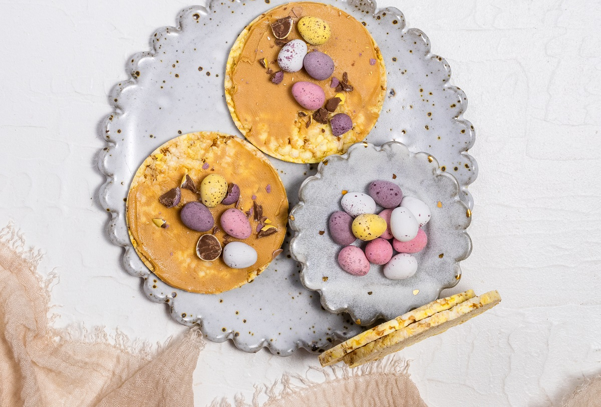 Easter Treat - Easter eggs & peanut butter on CORN THINS slices
