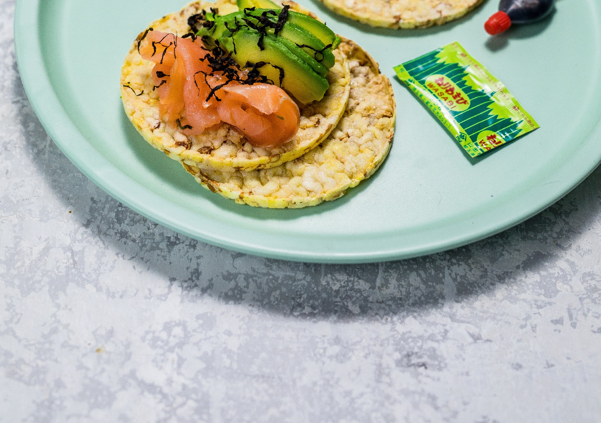 Salmon, Nori Flakes & Avocado on CORN THINS slices for lunch