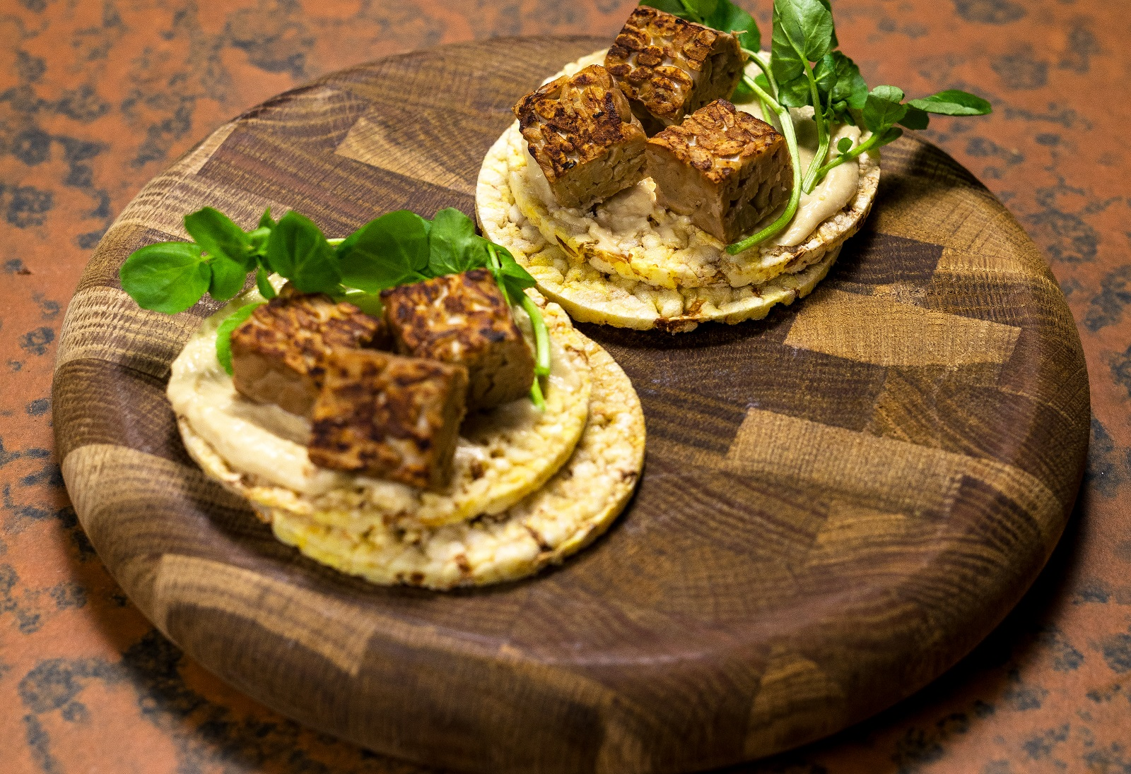 Hommus, Tempeh & Watercress on CORN THINS slices