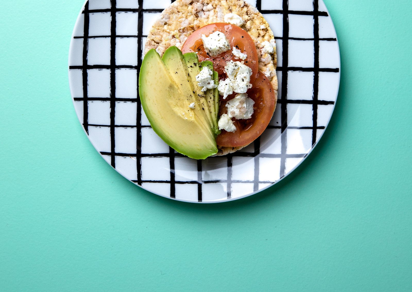 Tomato, Avocado & Feta on CORN THINS slices for lunch
