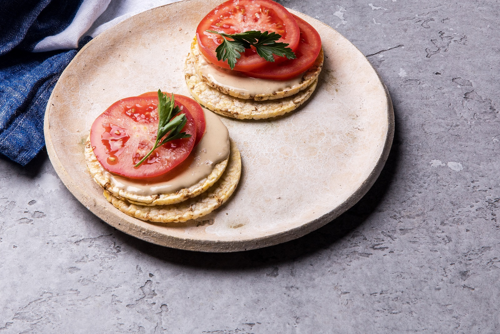 Tomato & Tahini on CORN THINS slices for lunch