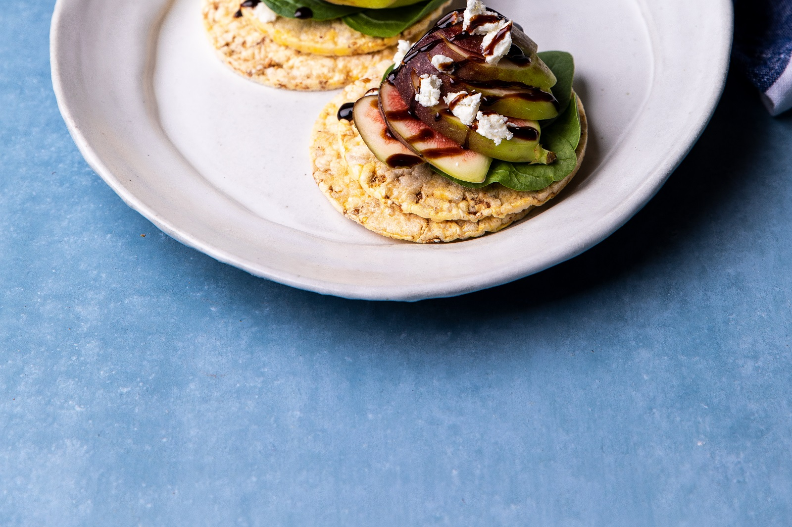 Baby Spinach, Fig, Goats Curd & Balsamic Glaze on CORN THINS slices