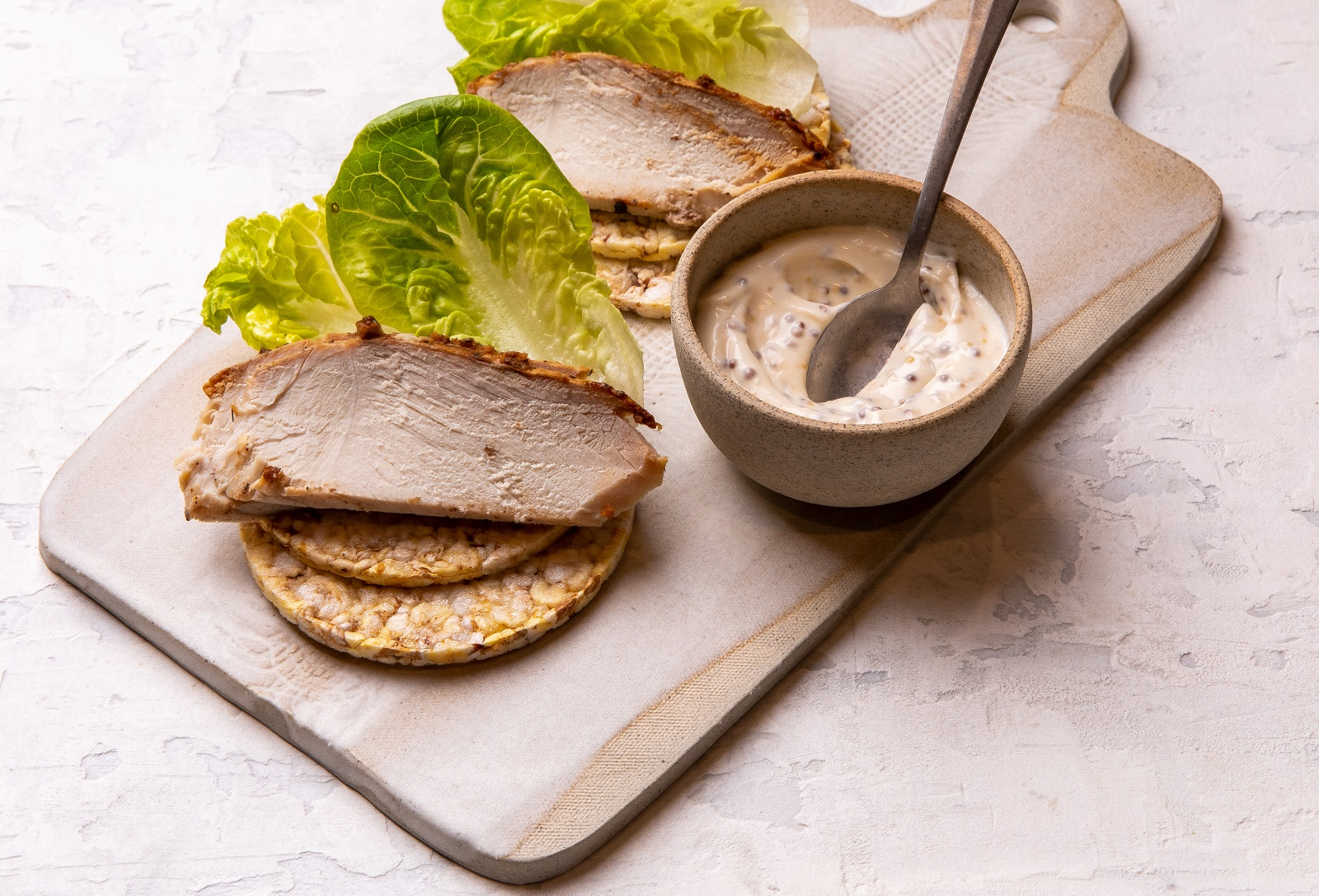 Left-over Roast Pork, Mayo, Seeded Mustard & Lettuce on CORN THINS slices