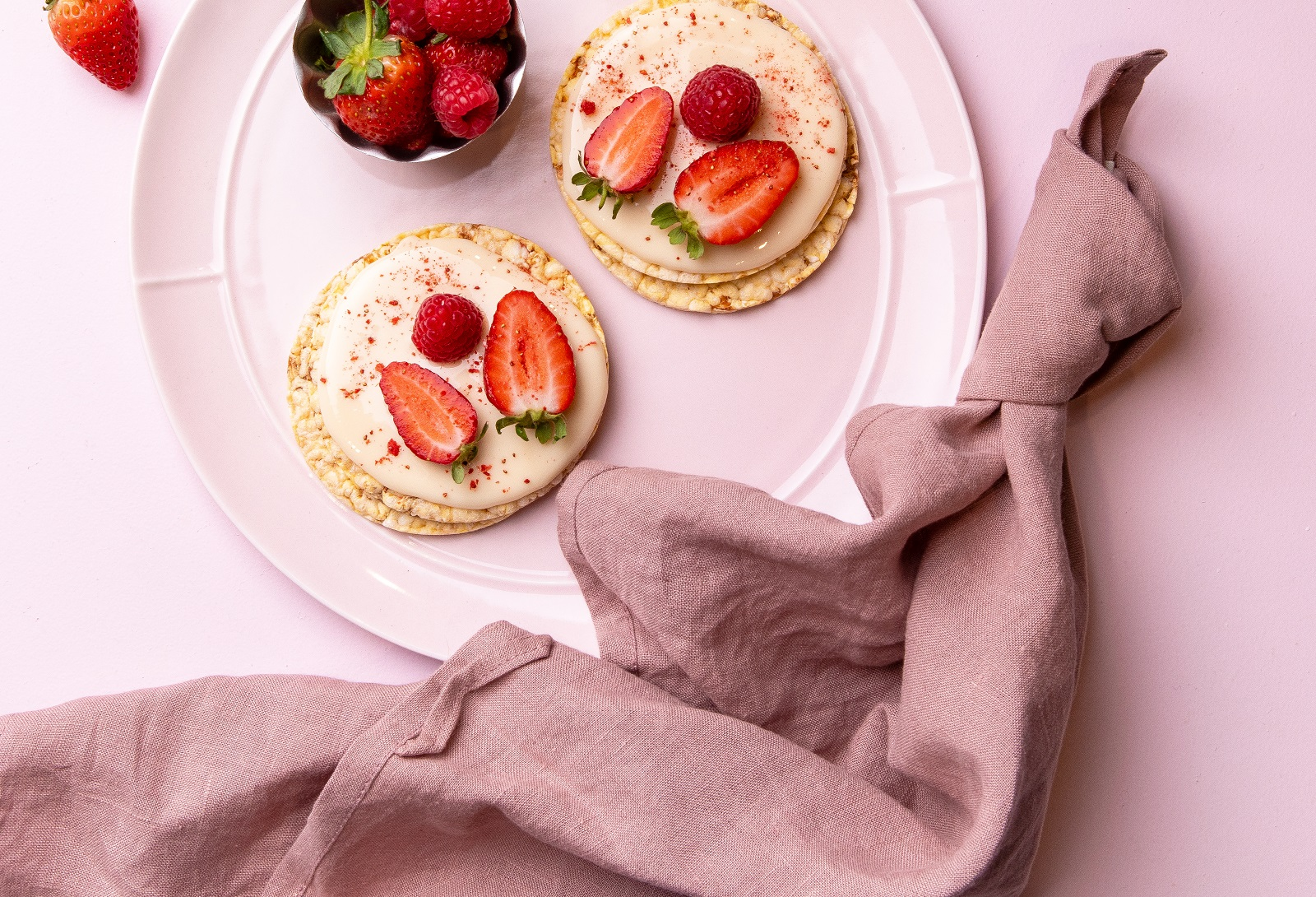 White Chocolate & Strawberries on CORN THINS slices as a decadent treat