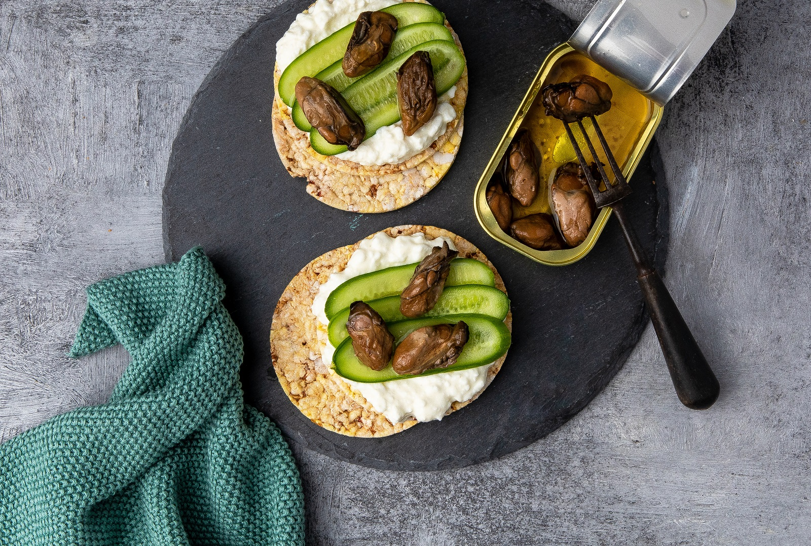Cream Cheese, Cucumber & Smoked Oysters on CORN THINS slices