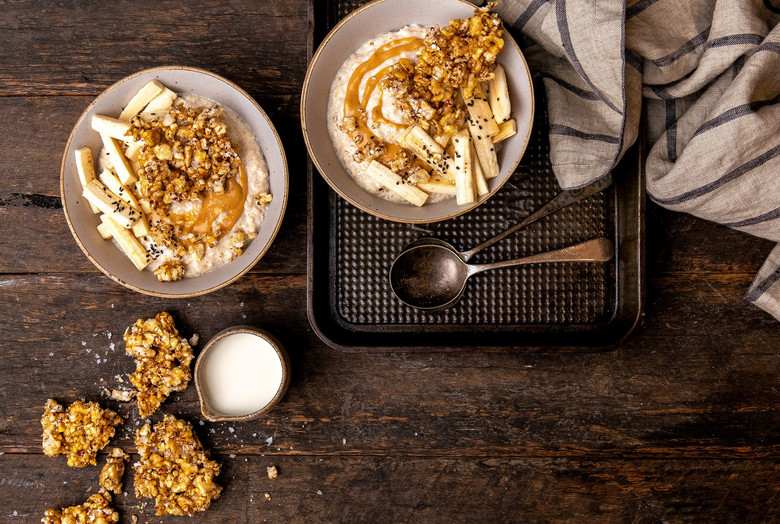 Ancient Grains Brittle with Nut Butter & Banana Porridge using Corn Thins or Ancient Grains slices - Vegetarian