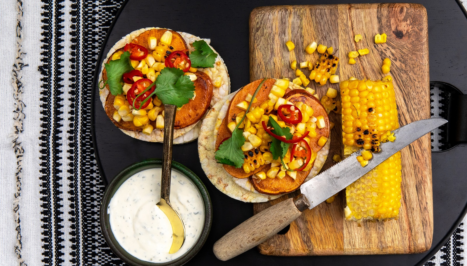 Grilled sweet potato, corn, coriander & ranch dressing on Corn Thins slices