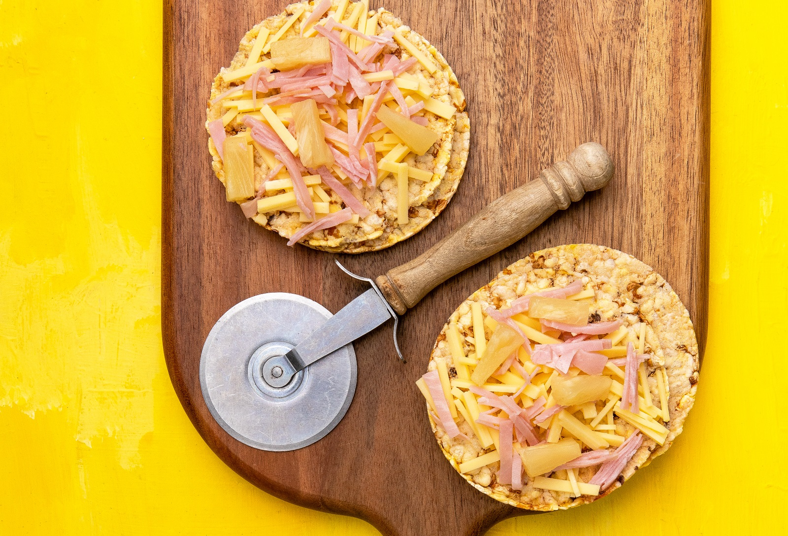 Hawaiian Pizza using Corn Thins slices (gluten free)