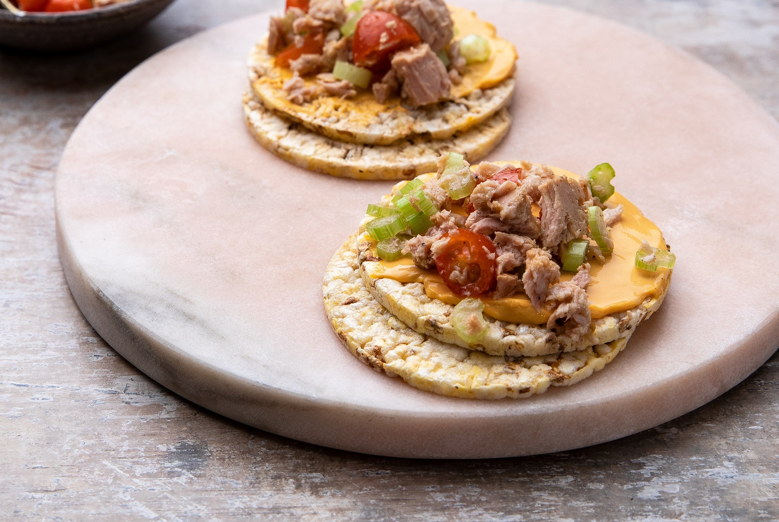 Cheese Spread, Celery, Cheery Tomatoes & Tuna on Corn Thins slices