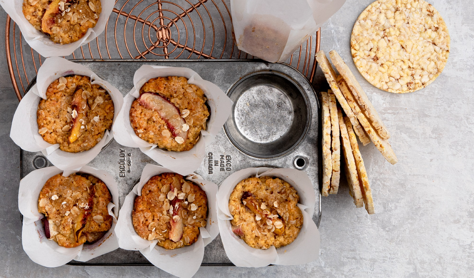 Gluten free nectarine & Brown sugar muffins using CORN THINS slices