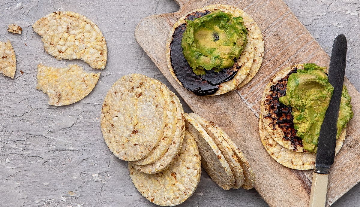 Vegemite & Avocado on CORN THINS slices