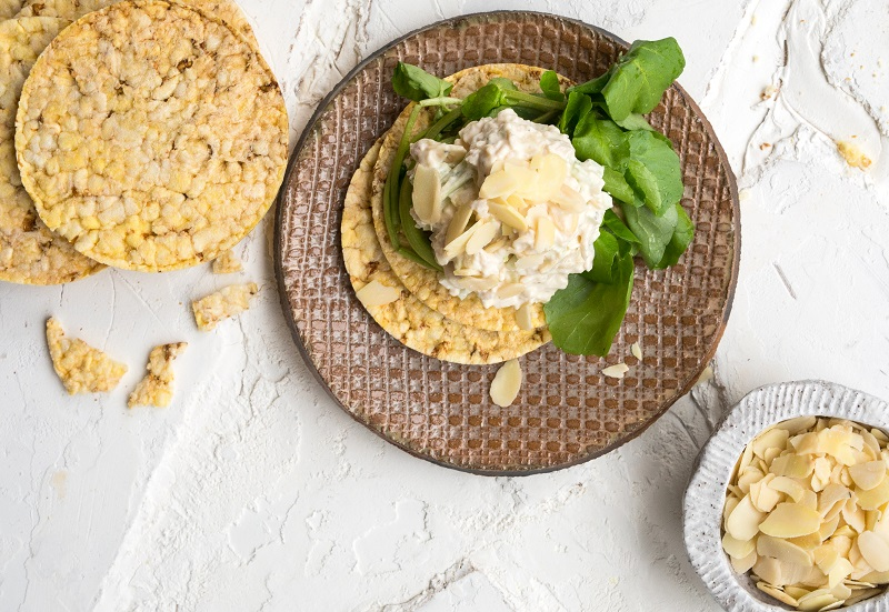Chicken Spread & Watercress on CORN THINS for lunch