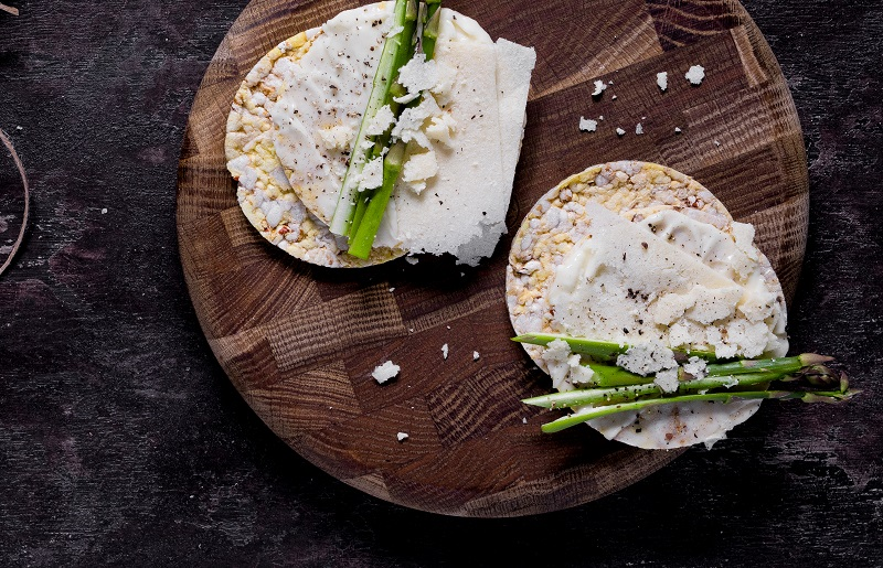 Asparagus, Mayo & Parmesan on CORN THINS slices