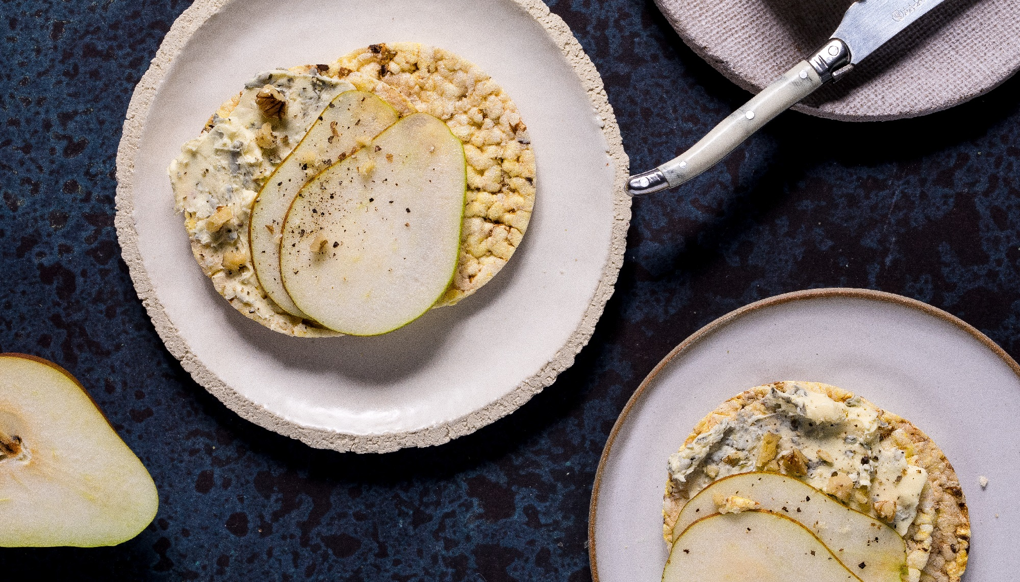 Blue Cheese, Pear & Walnut on CORN THINS slices