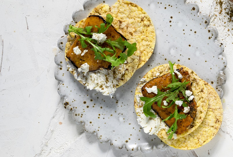 Goats Cheese, Roast Pumpkin, Rocket & Zaatar on CORN THINS slices