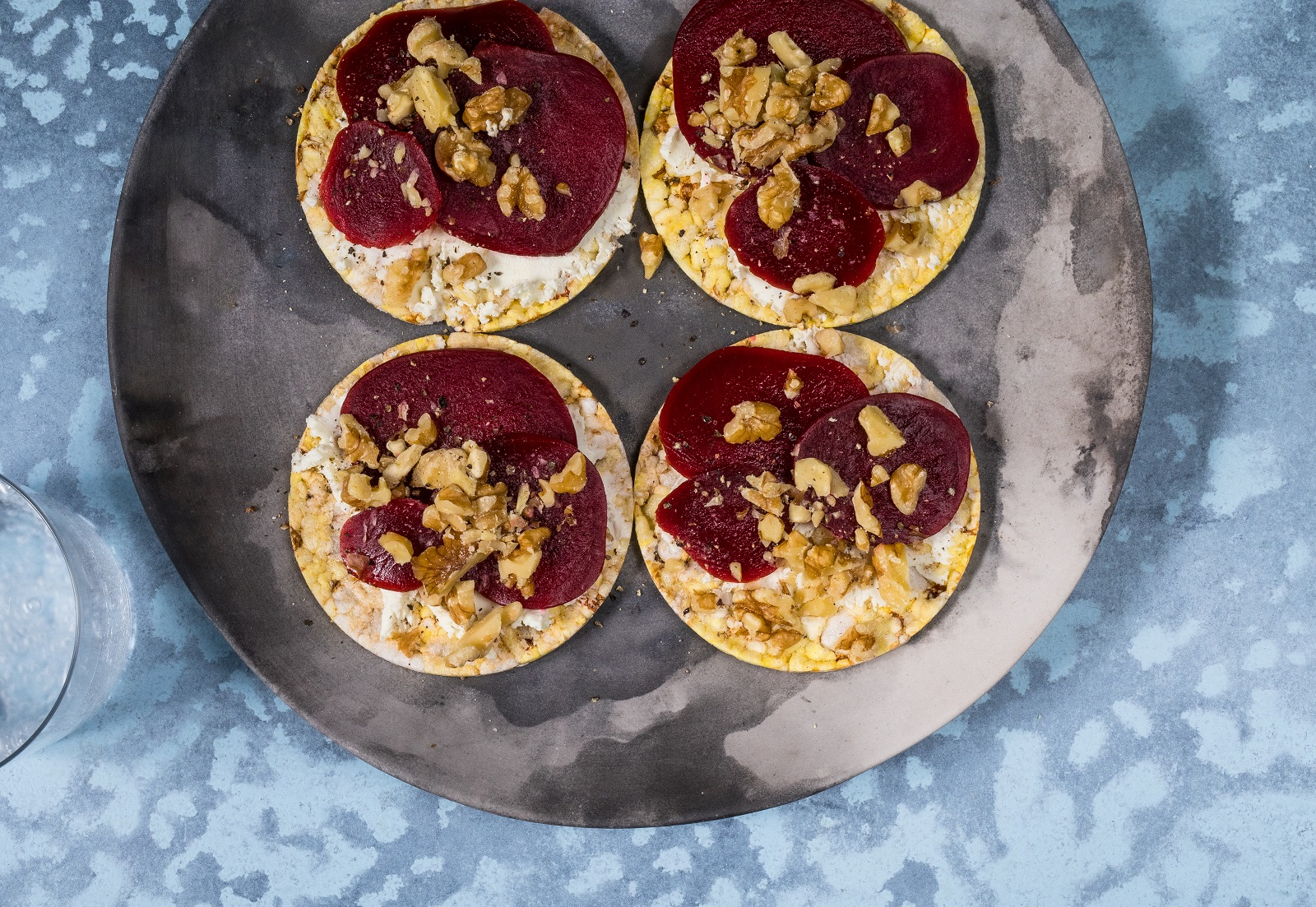 Walnut, Beetroot & Goat's Cheese on CORN THINS slices