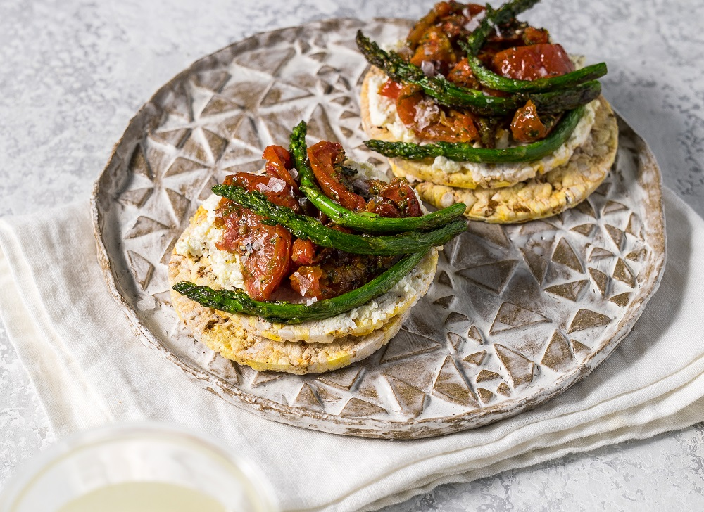 Ricotta, Sundried Tomato & asparagus on CORN THINS slices