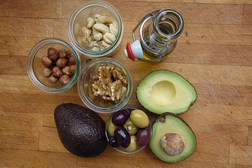 Good fats, avocado, nuts, olive oil