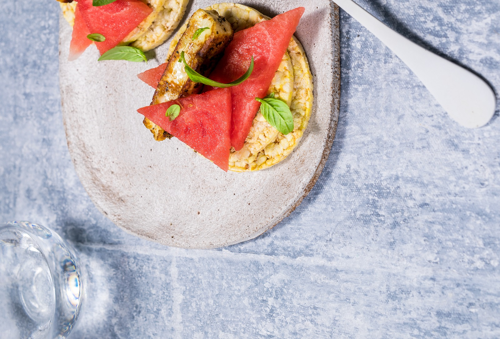 Watermelon, Haloumi & Basil on CORN THINS slices