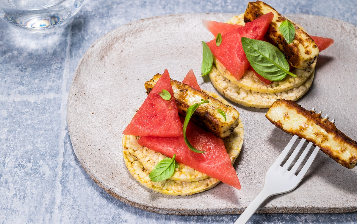 Watermelon & Haloumi on CORN THINS slices