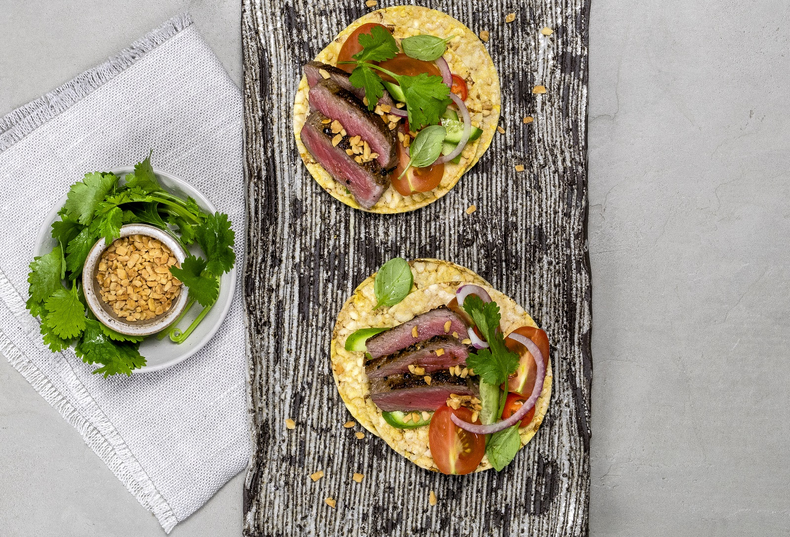 Thai Beef Salad on CORN THINS slices