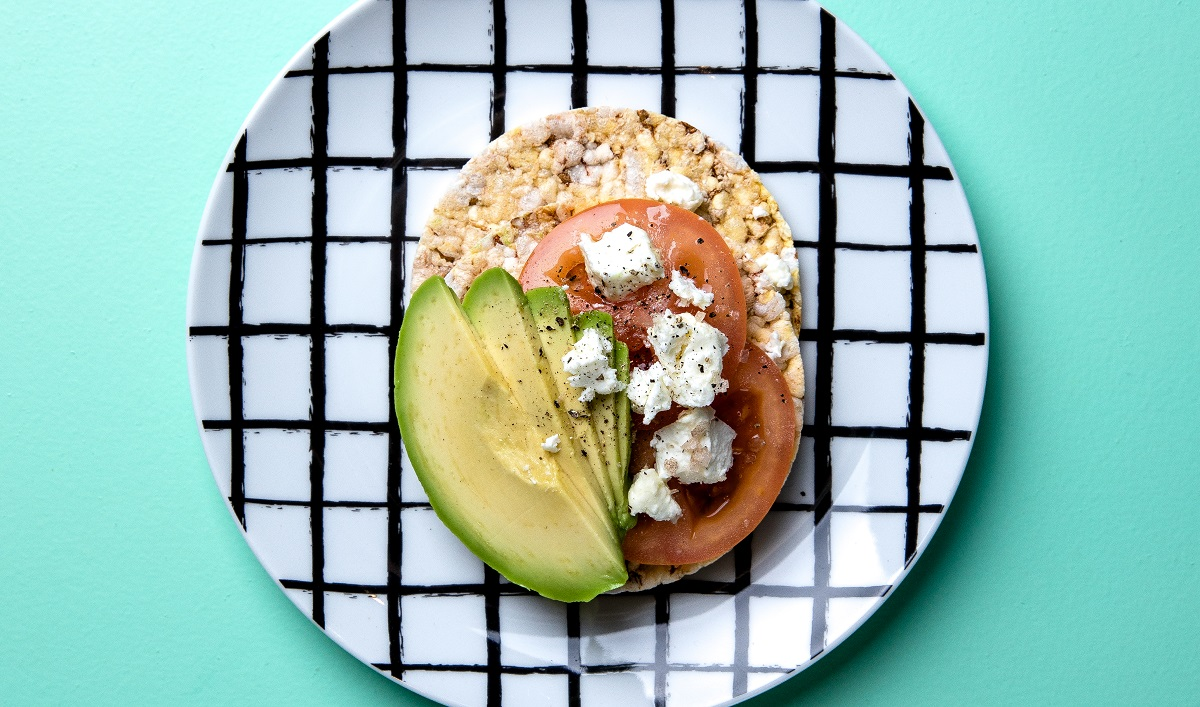 Avocado, tomato & feta on CORN THINS slices
