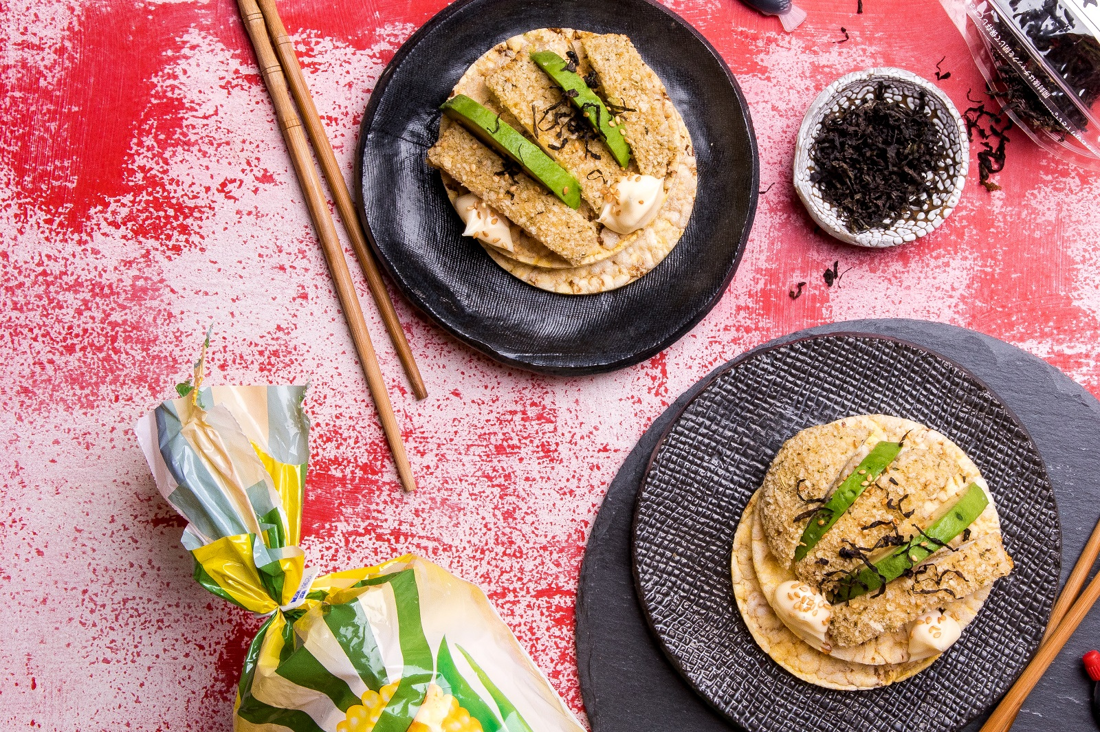 Lunch Recipe of CORN THINS slices with Chicken Schnitzel, Avo, Kewpie Mayo & Seaweed Flakes