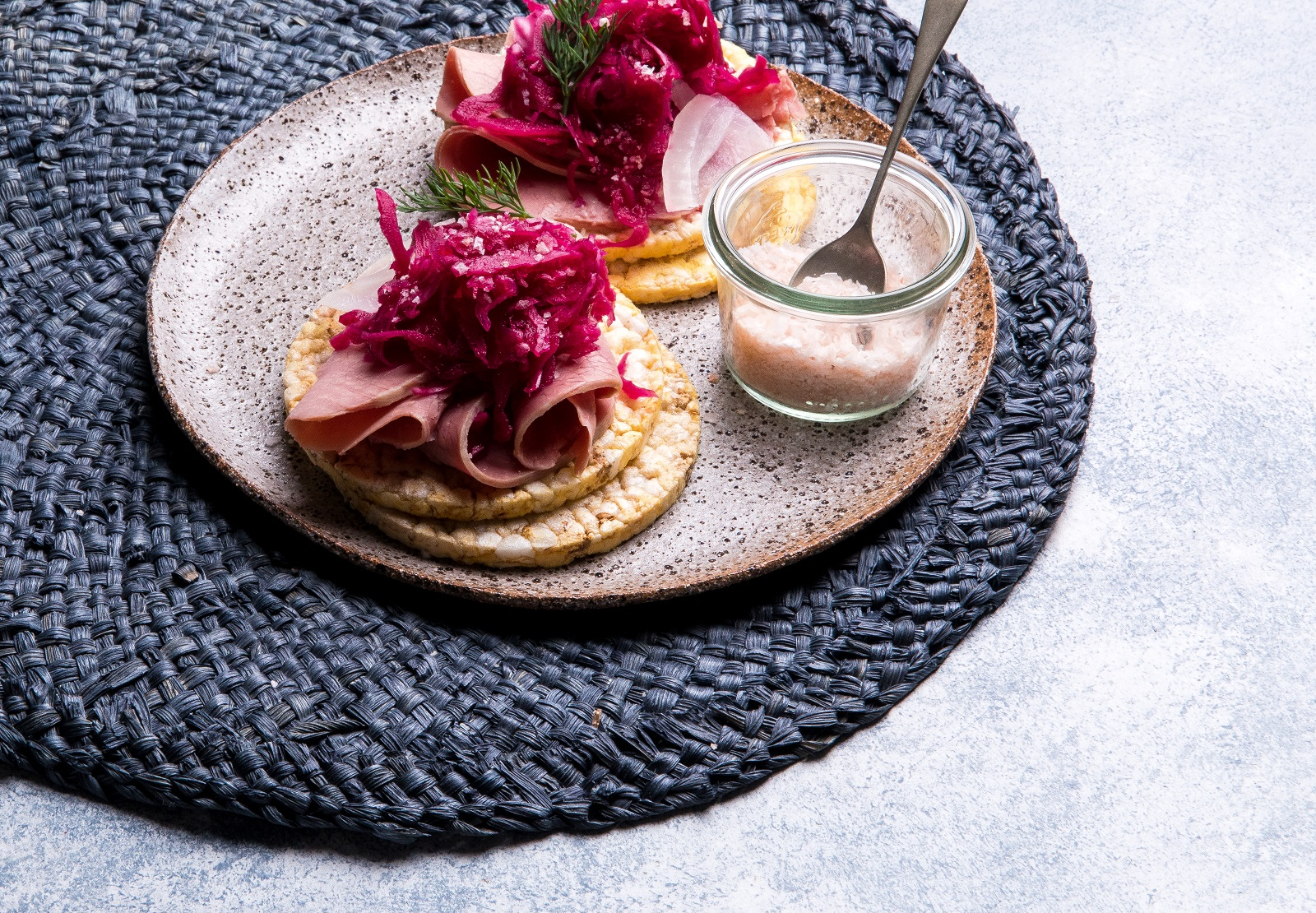 Lunch toppings recipe - CORN THINS with Corned Beef, Red Beetroot Salad, Pickled Onion & Dill
