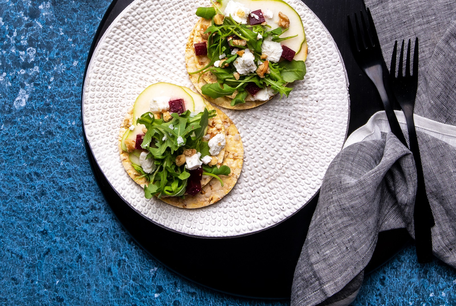 Pear, Beetroot, Persian Feta, Walnuts & Rocket on Corn Thins slices. Vegetarian