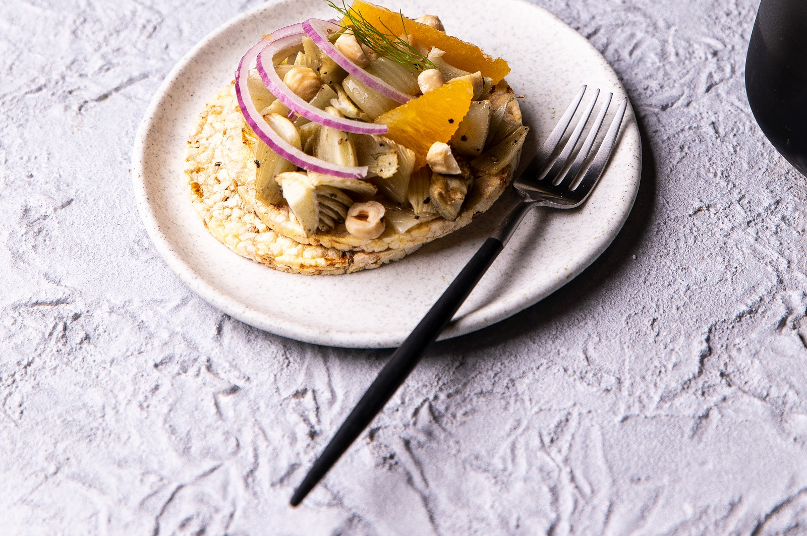 Roasted Fennel, Orange, Red Onion & Hazelnut on CORN THINS slices