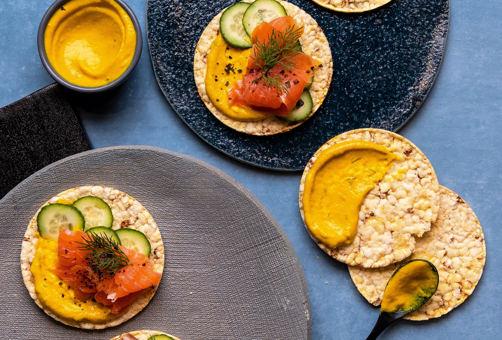 Honey Dill Mustard, Cucumber & Smoked Trout on Corn Thins slices for lunch