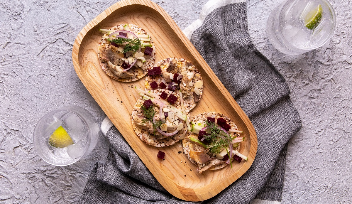Smoked Mackerel & Beetroot Salad on Corn Thins slices