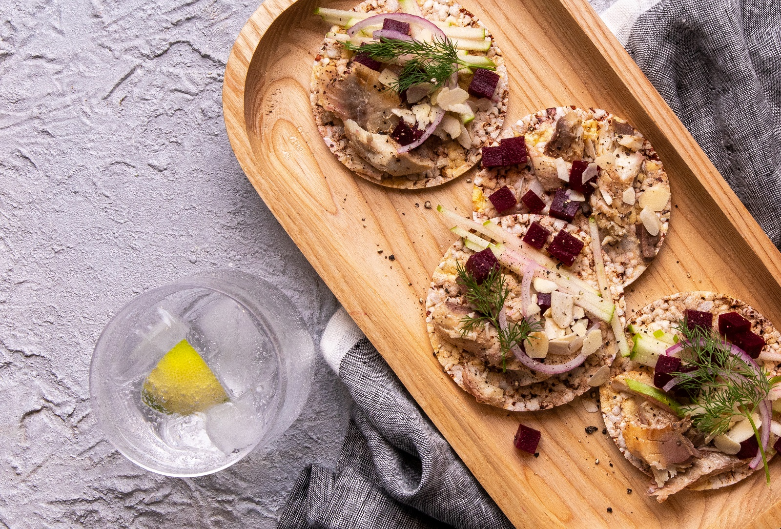 Smoked Mackerel & Beetroot Salad on Corn Thins slices for lunch