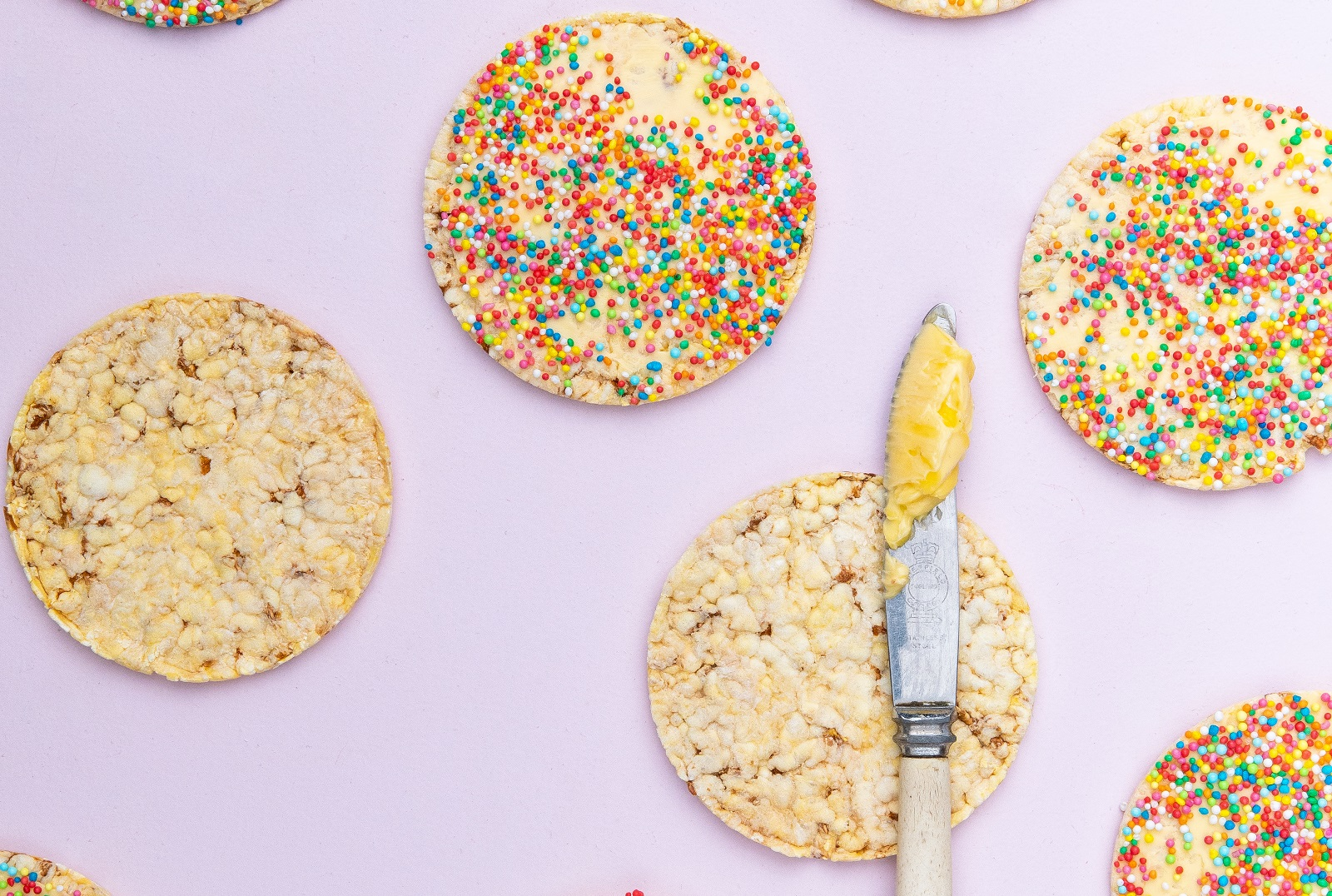 100's & 1000's on CORN THINS slices for Fairybread Day