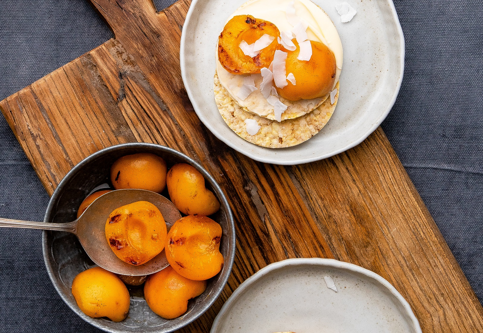 Grilled Apricot, Cream Cheese & Coconut Flakes on Corn Thins slices