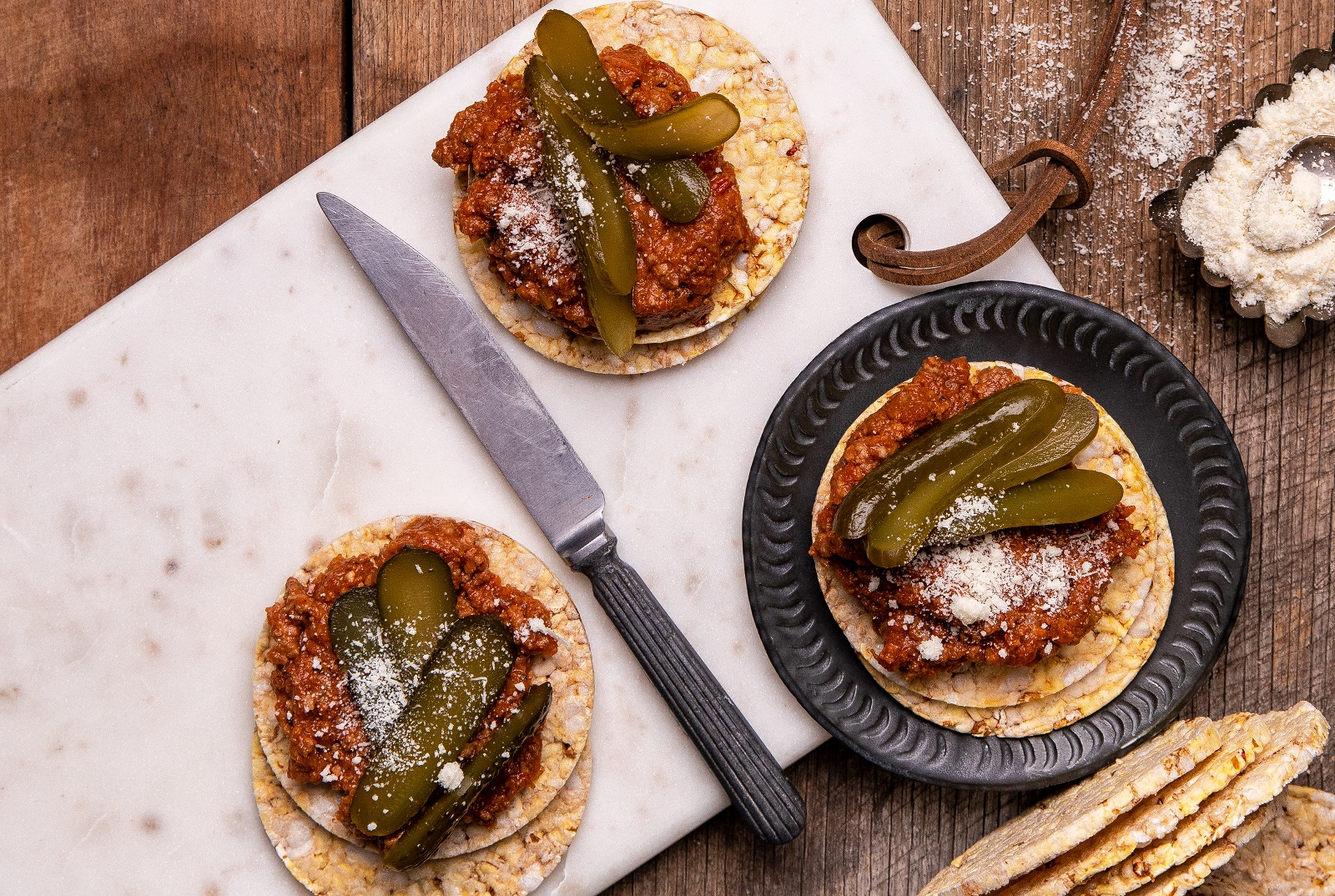 Leftover Bolognese, Gherkin& Parmesan on CORN THINS slices for lunch or dinner