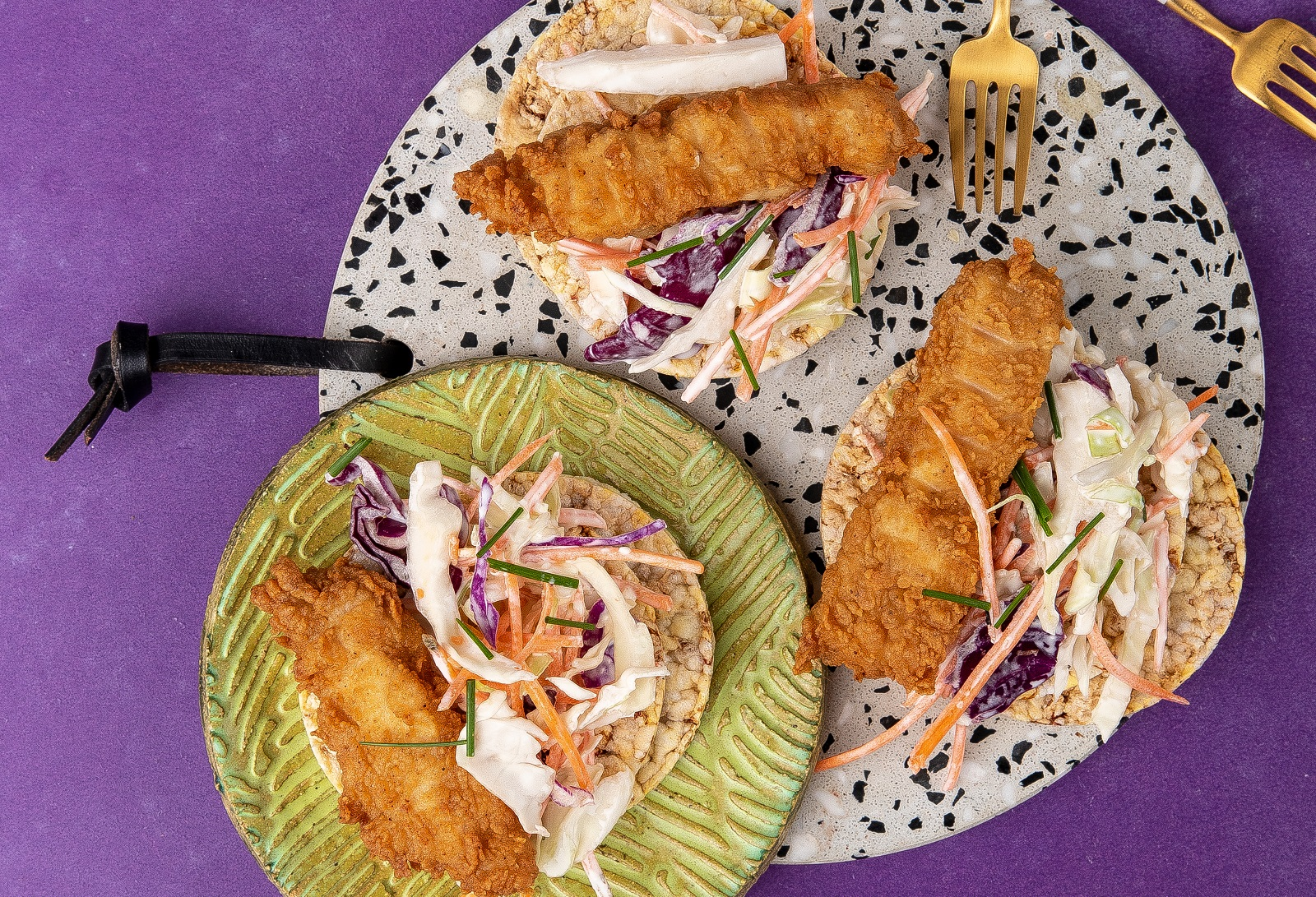Crispy Chicken & Coleslaw on CORN THINS slices for lunch