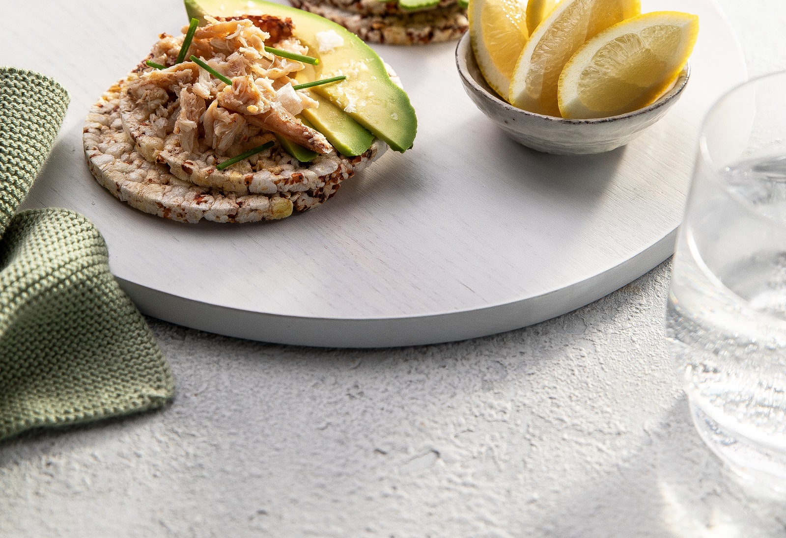 crab meat, avocado, lemon & chives on Ancient Grains slices