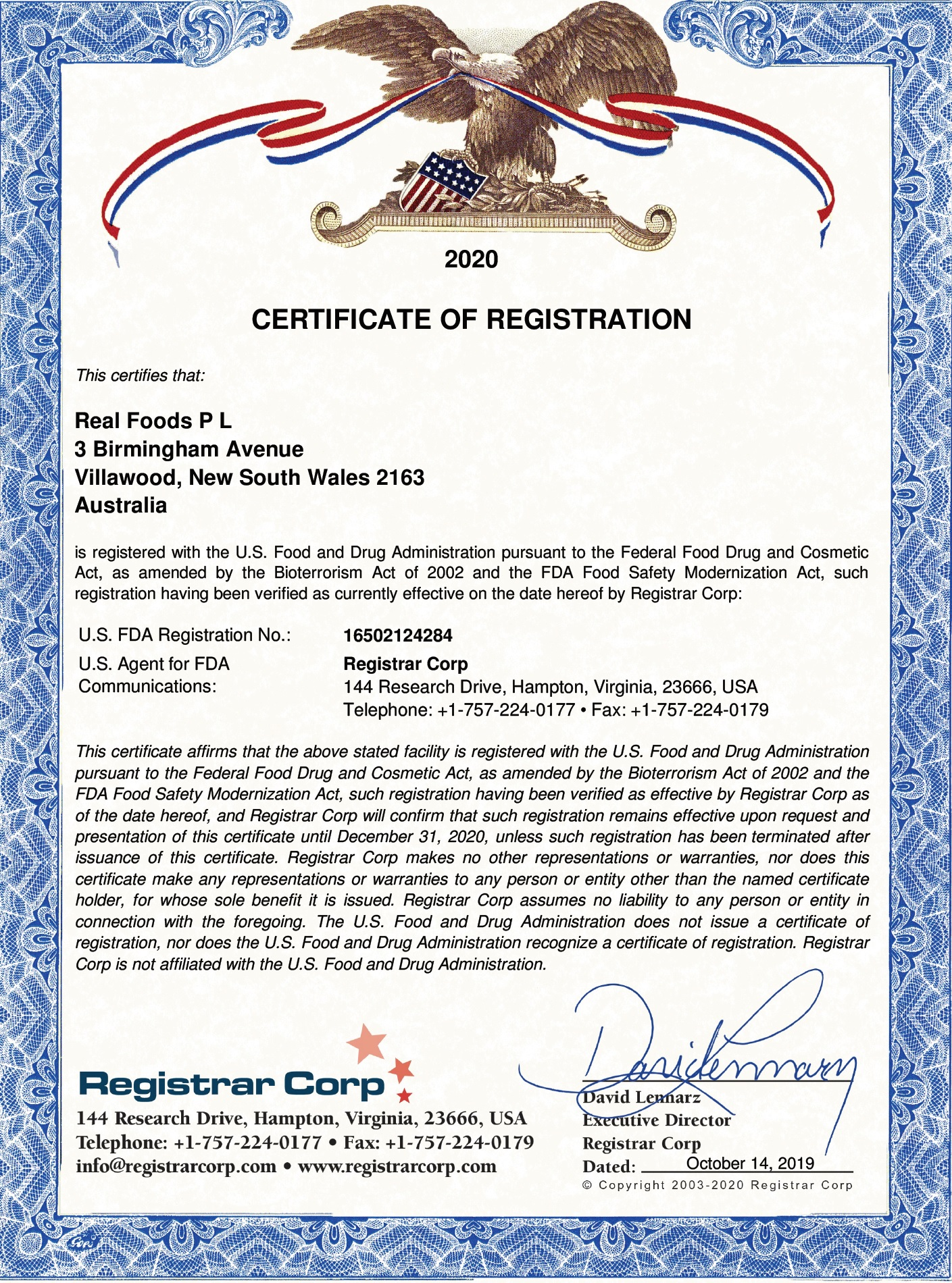 FDA Registration Certificate
